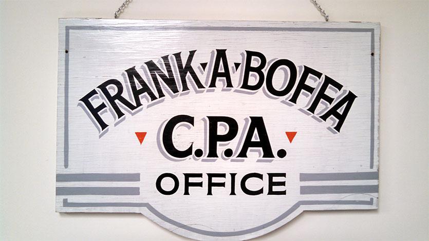 Original sign outside Frank's home office in East Hanover